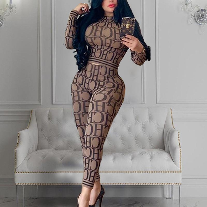 las mujeres elegantes Conjunto 2 piezas 2020 de impresión de la letra la manga larga Top y pantalones flacos Mismo vestido casual Establece T200611