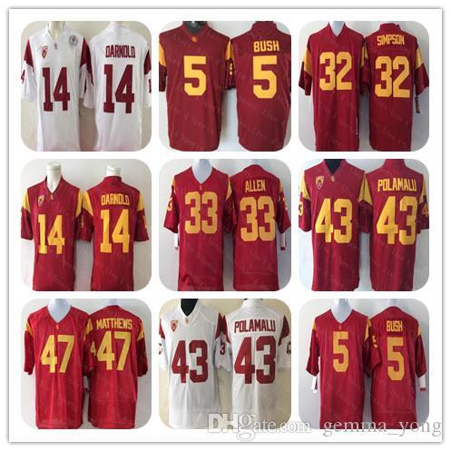 Uomini Vintage Collegio Università USC Trojan Jersey Football Woods Reggie Bush Matt Barkley O.J Simpson Marcus Allen Ronnie Lott Troy Polamalu Matthews