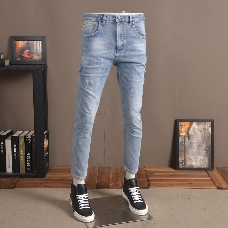 Ripped Jeans Homens 2020 Verão finas denim stretch calças regular até os tornozelos