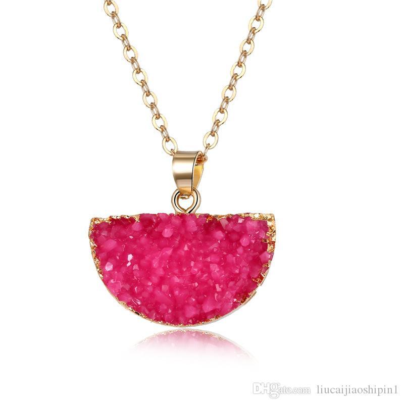 7 colores sandía semicírculo collar de moda imitación piedra natural semicírculo colgante collar de resina