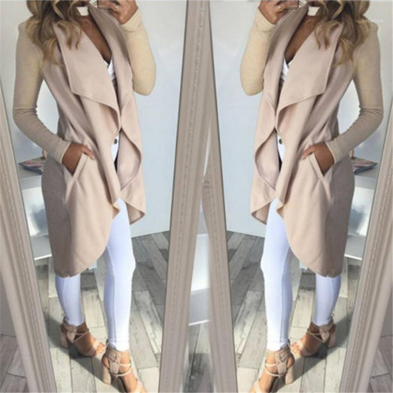 Neck Trench Coats Natural Color Long Sleeve Casual Coat Luxury Womens Trench Coats Designer Ruffle V