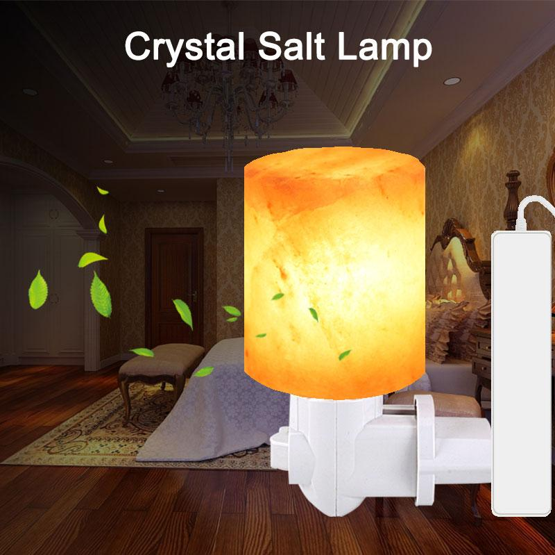 Himalayan Salt Lamp Rotatable Plug Night Light Air Purifier Wall Lamp Cylinder Natural Rock Wall Lamp Bedside Lights for Home Office Bedroom