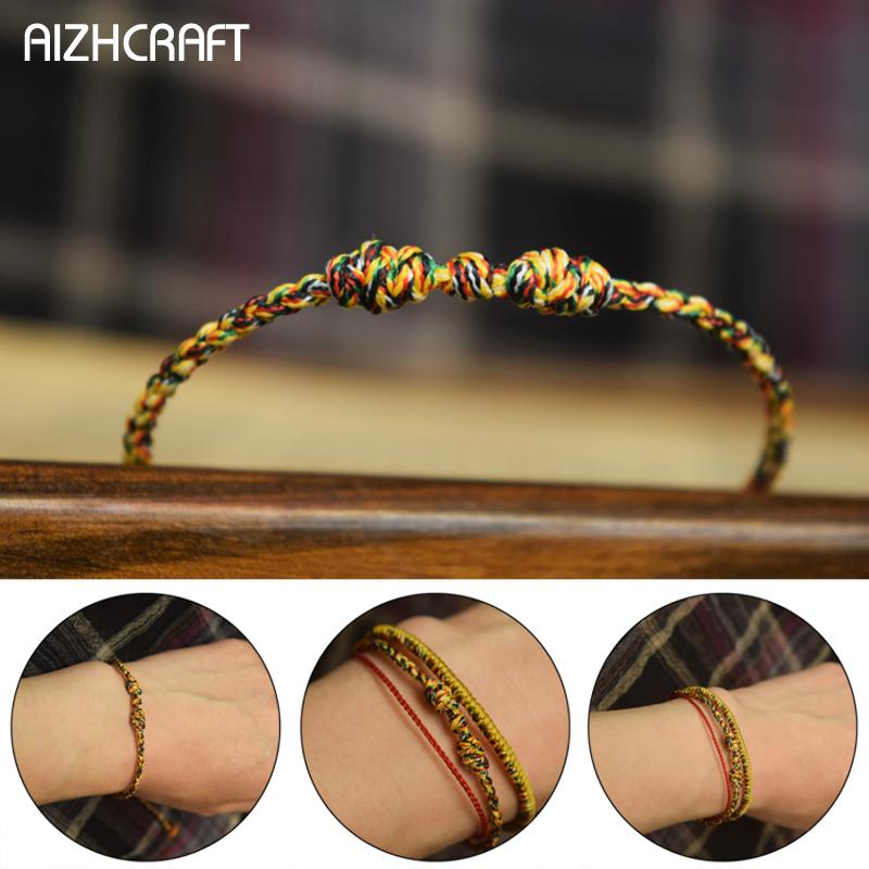 Bracelete Budista Aizhcraft Love Lucky Charm braceletes Tibetanas Bangles For Women Men Handmade Braided Braided Knots Olive Core