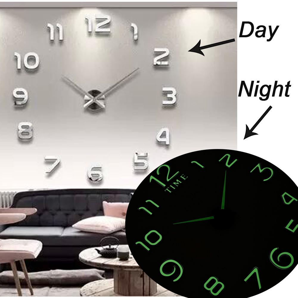2019 New Luminous Wall Clocks Large Clock Watch Horloge 3d Diy Acrylic Mirror Stickers Quartz Duvar Saat Klock Modern Mute T191029