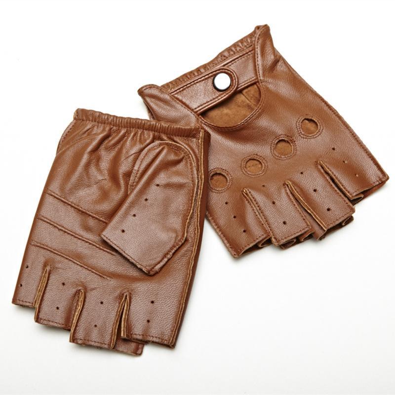 قفازات الرجال جلد الغنم ريترو جلدية حقيقية أصابع القفازات قيادة الدراجات النارية غير المبطنة نصف اصبع قفازات