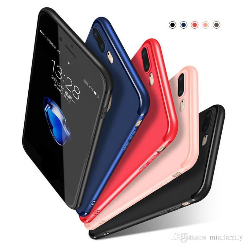 2019 Hot Slim Soft TPU Silicone Case Cover Candy Colors Matte Phone Cases Shell with Dust Cap For iPhone X 8 7 6 6S Plus Epacket Free