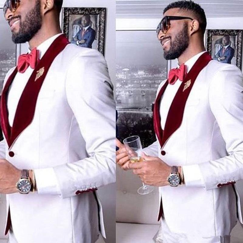 Beyaz Örgün Parti Erkek Düğün için Suits 2 Parça Bir Düğme Damat Suits Slim Fit Özel Adam Düğün Smokin Suit