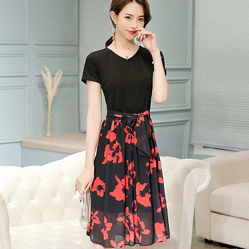 Calan Diana 2019 Primavera E L'estate Nuova Versione coreana di grande dimensione è stata casuale di modo del vestito delle donne sottile - Stile abbigliamento