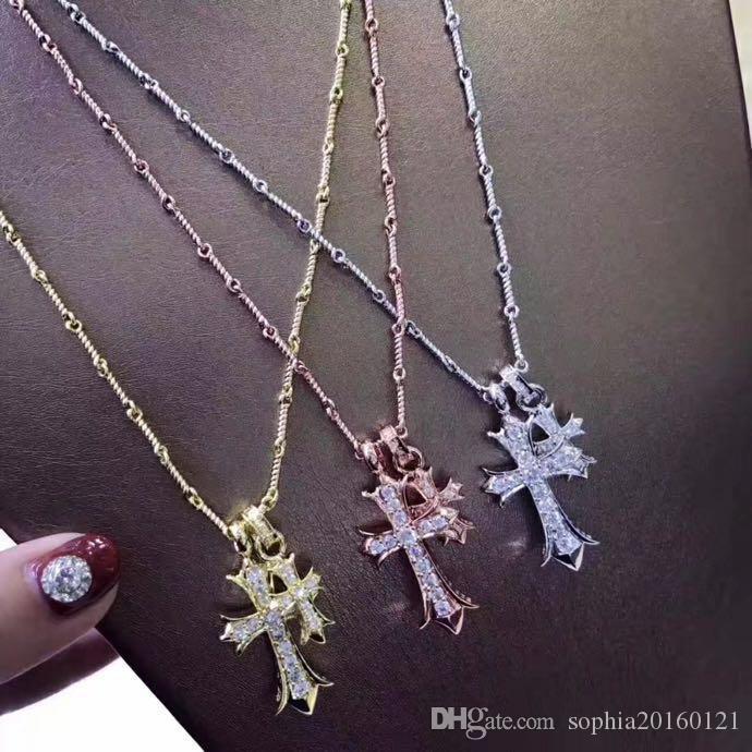 De lujo clásico diseñador 18 K chapado en oro cruz colgante collar de cadena corta para joyería de las mujeres
