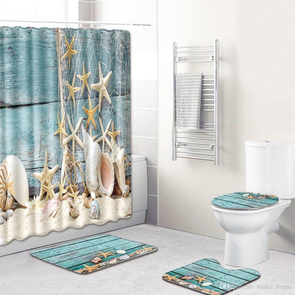 Mer Shell Rideau de douche de plage Étoile de mer Conch Imprimé pour salle de bains d'eau de bain Rideaux Décor