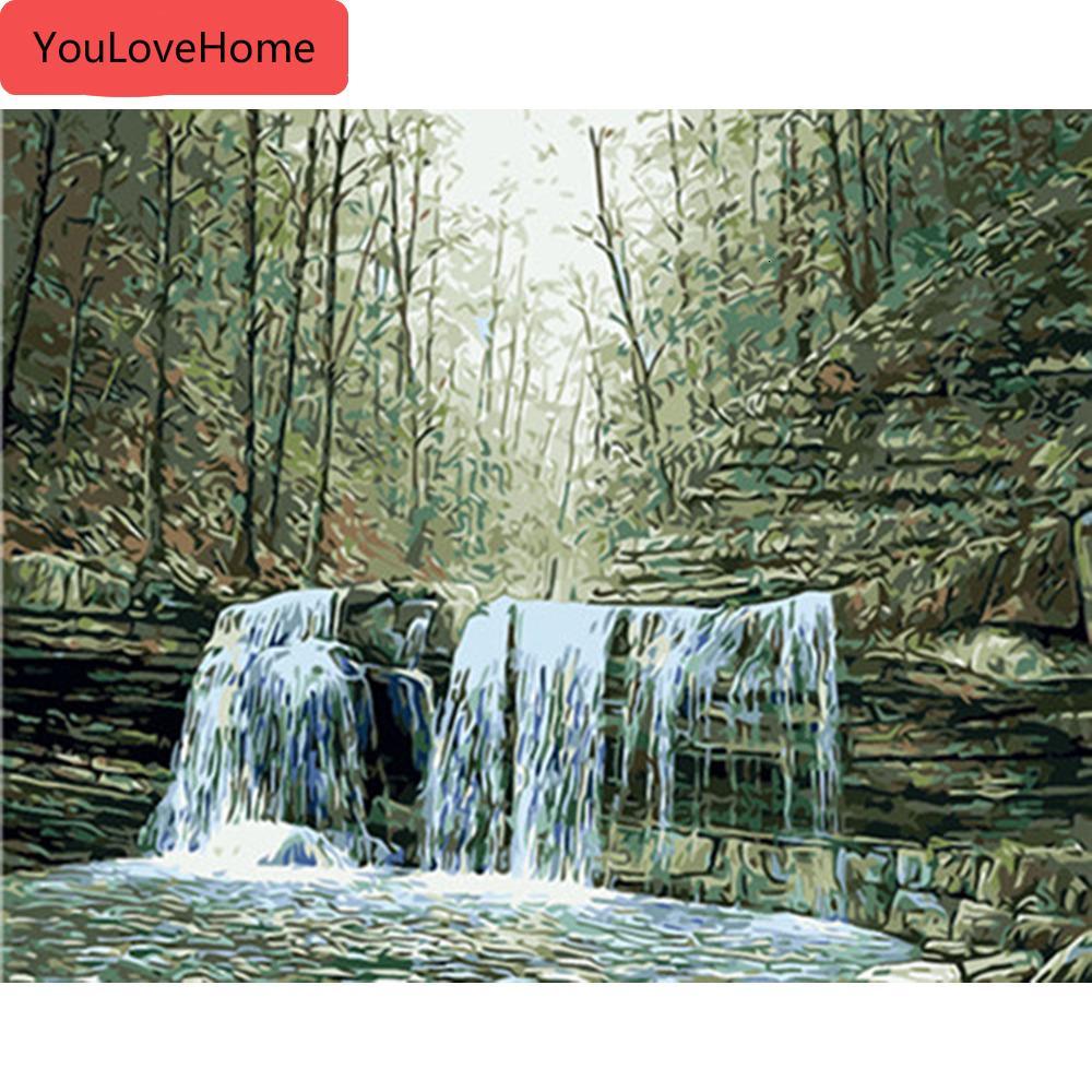 Landschaft Malen nach Zahlen Wasserfall Zeichnung auf Leinwand handgemaltes Kunst-Geschenk Diy Bild Kits Home Decoration