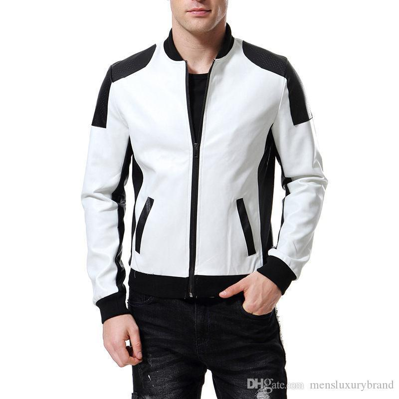 Leather Jackets Long Sleeve Mens Plus Size Outerwear Stand Collar Males Jackets With Zipper Solid Color Mens