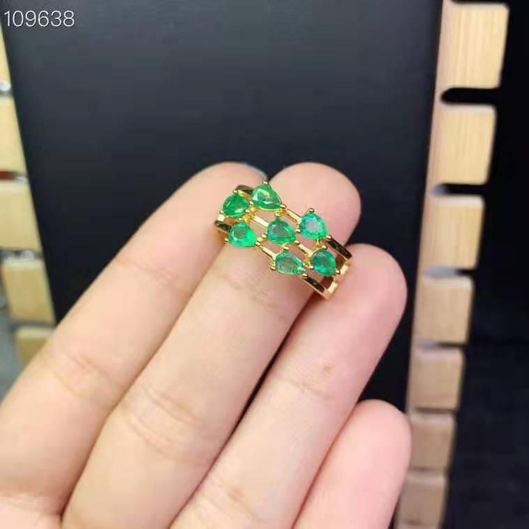 anello di smeraldi naturali alla moda di qualità gemma 925 1pc 3x4mm