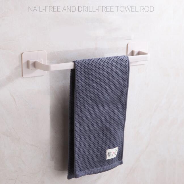 toalla titulares de bastidores de pared autoadhesivo montado baño estante barra de toalla plástico bastidores de suspensión de los titulares de cuarto de baño cocina almacenamiento