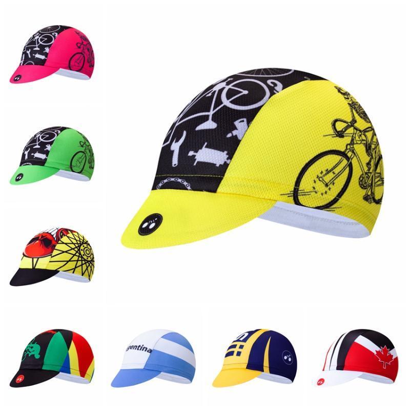 2019 Cycling Caps Männer Straßen-MTB-Fahrrad Ciclismo Hüte Headwear Sun UV Team Sports Lauf Helm Innen Cap Bandana Gelb