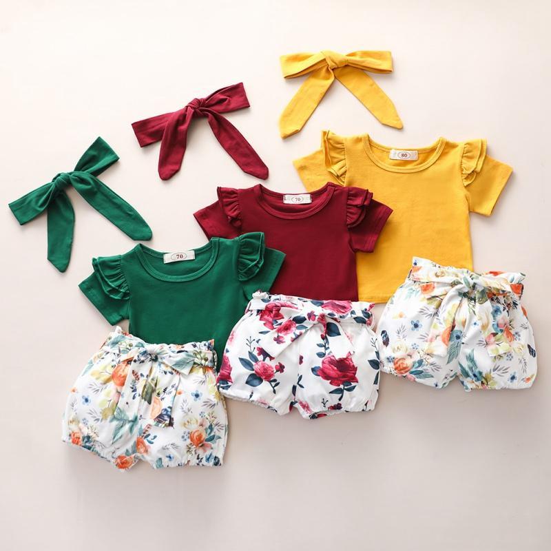 Infant vestiti della ragazza 3PCS Neonata appena nata pagliaccetto T-shirt + shorts + floreale fascia Outfit 2020