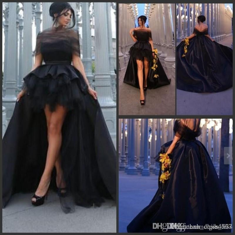 Elegant Black Off Shoulder Prom Dresses High Low Evening Gowns Sexy Backless Sweep Train Tulle Satin Formal Party Dresses Custom Made AW332