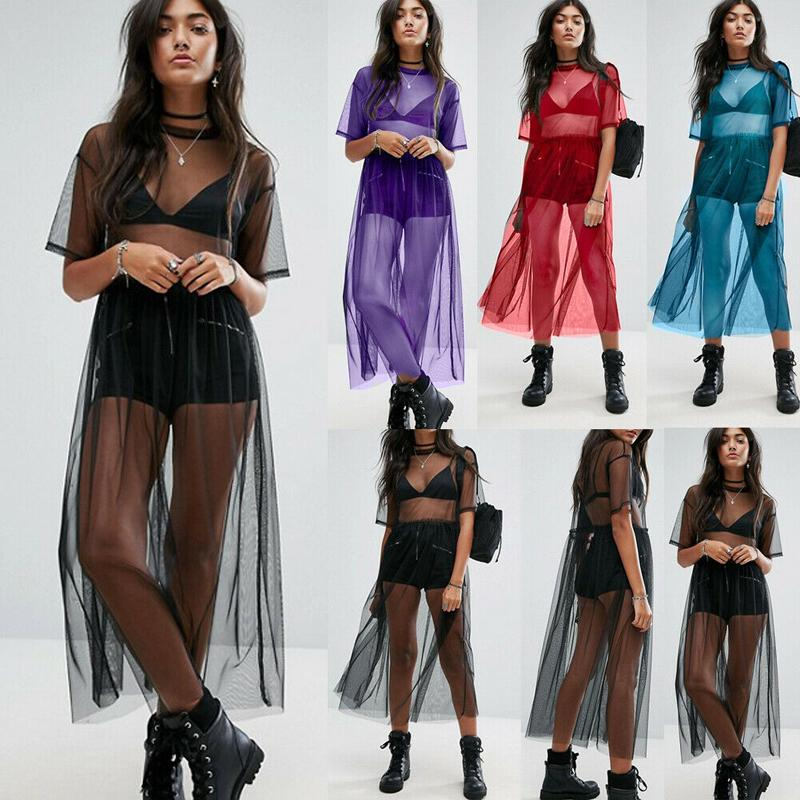 Sexy Chiffon Womens Beach Cover Ups Black See Through Mesh Dress Sheer Maxi Cover Up Tulle Lace Beachwear Female Swimsuit