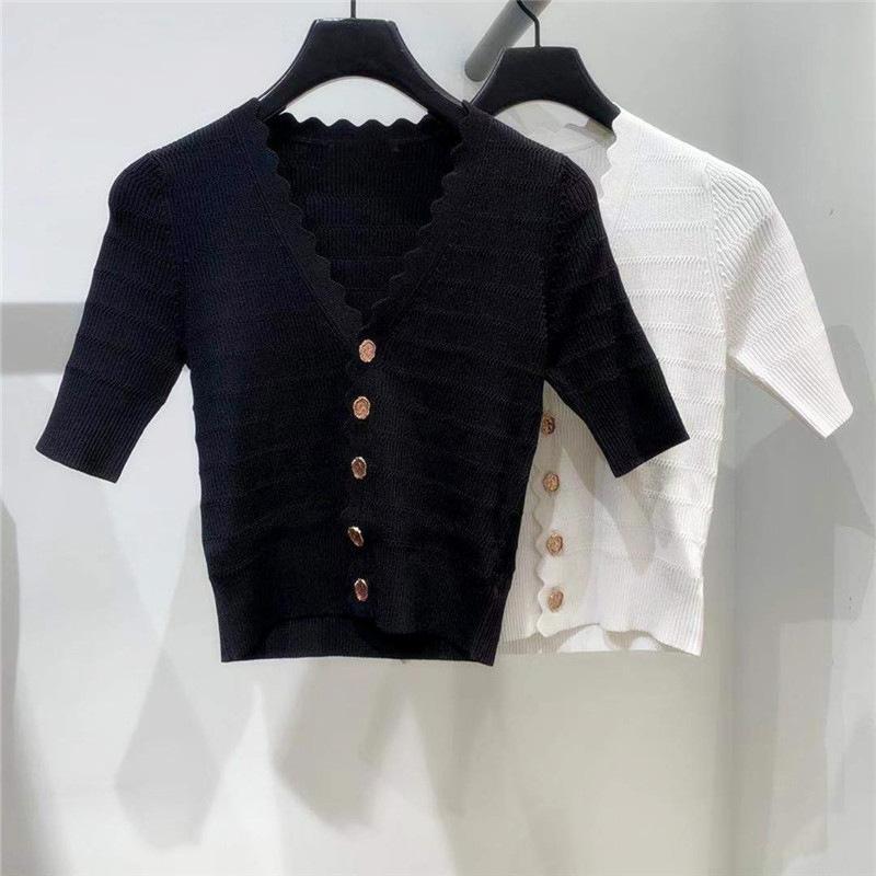 Suéter de las mujeres breasted 2020-Single primavera / verano de la nueva V-cuello fino delgado de manga corta de punto Cardigan Mujeres camiseta