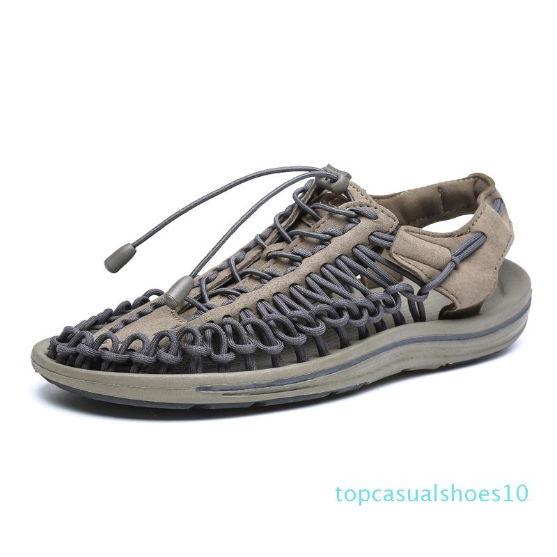 Mens Weave Sandals oco Out Casual sandália leve e respirável Fishman sapatos da moda Snakers Praia Walking Shoes FX33