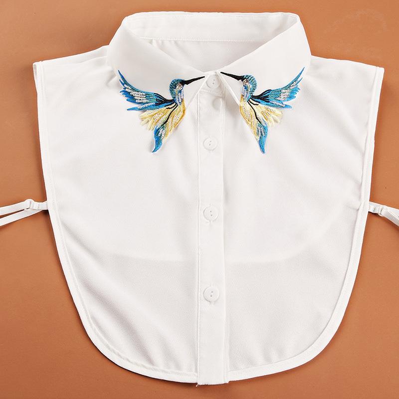 Kadınlar Ayrılabilir Yanlış Yaka Gömlek Sıcak İçin Vintage İşlemeli Yapay elmas Sahte Yaka Moda Gömlek Sahte Yaka