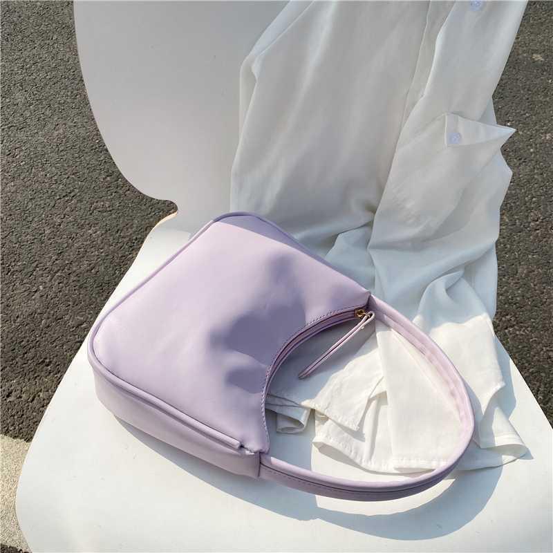 2020 çanta tote deri kadın çantası koltukaltı moda baget kadın omuz çanta küçük mor yaz pu çanta oleuf