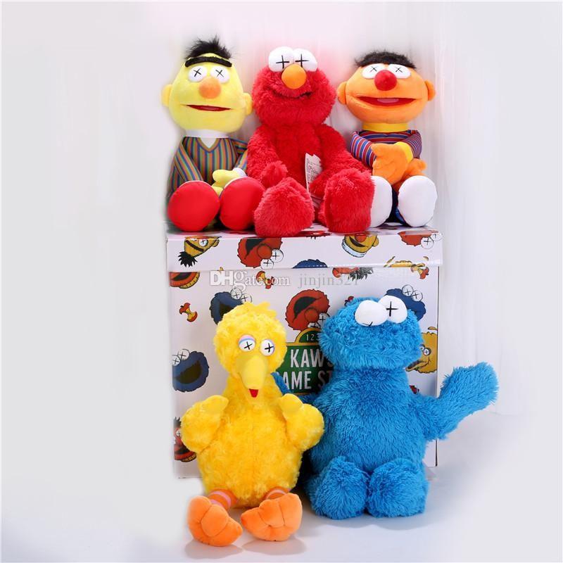 Sıcak Satmak Susam Sokak Kaws 5 Modelleri Peluş Oyuncaklar Elmo / Büyük Kuş / Ernie / Canavar Bebekler Dolması Hayvanlar Peluş Çocuklar Koleksiyon Oyuncaklar