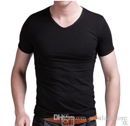 2020 verano hombres más tamaño camisetas de manga corta cuello en V profundo hombres camiseta blanca 4XL 5XL 6XL Modal camiseta superior