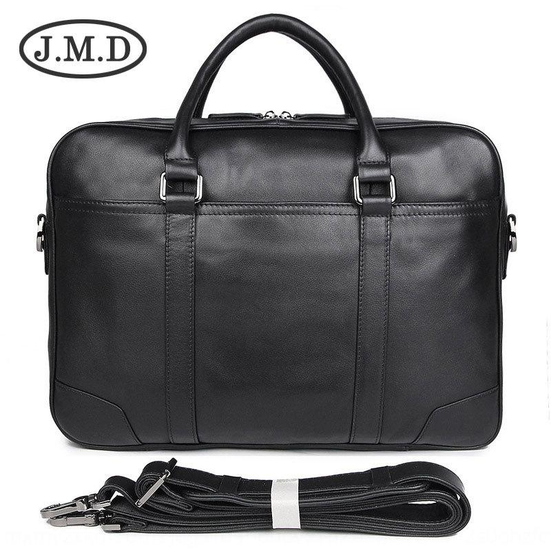 Solo bolso bolsa principal maletín de mano negro de 15 pulgadas equipo informático de la mano de los hombres genuinos JMD Hombres de Negocios