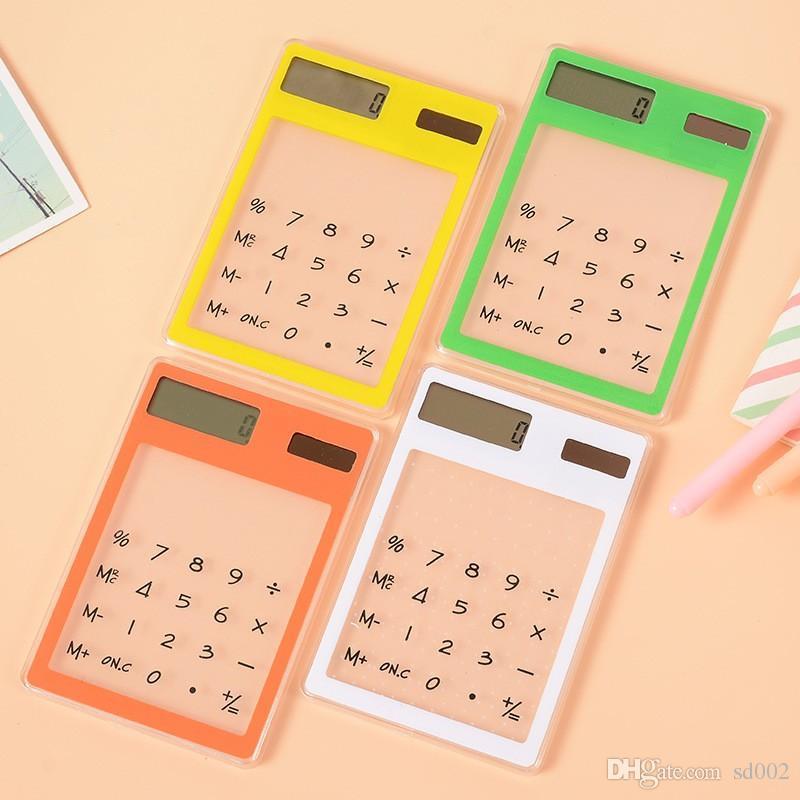 Creative Place Transparent Calculatrice en plastique ultra mince énergie solaire Mini Calculatrices pour les étudiants En savoir Fournitures Count Portable 4 7RT ZZ