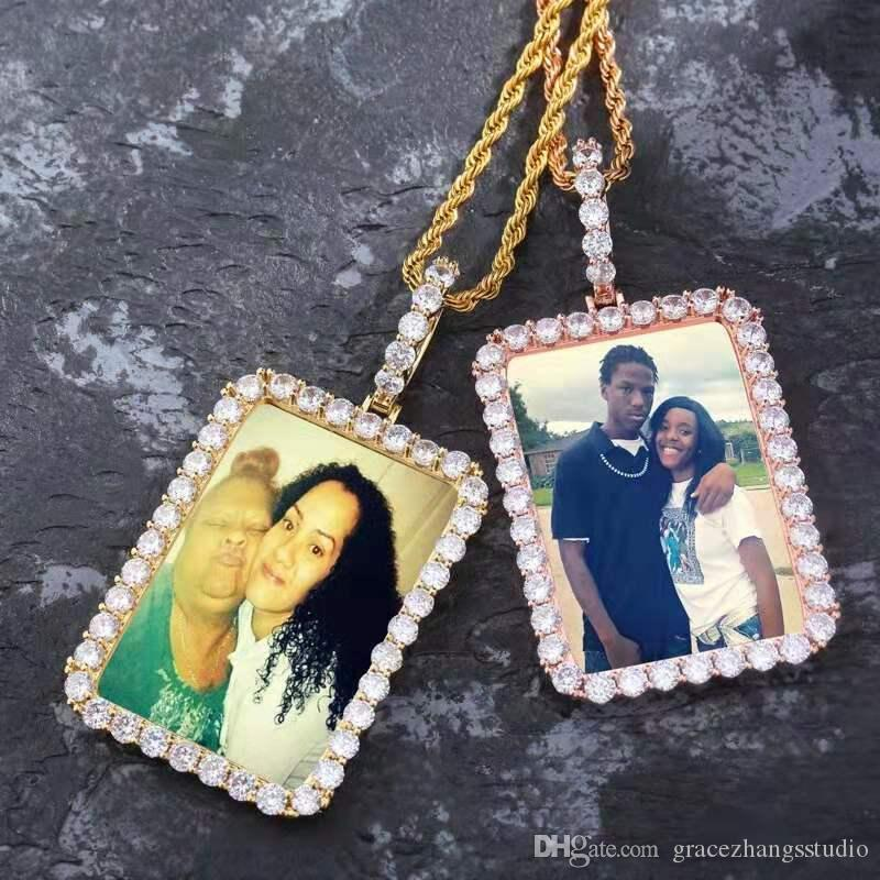 iced out custom photo pendant necklaces for men women luxury designer bling diamond picture frame pendants necklace wedding friend love gift