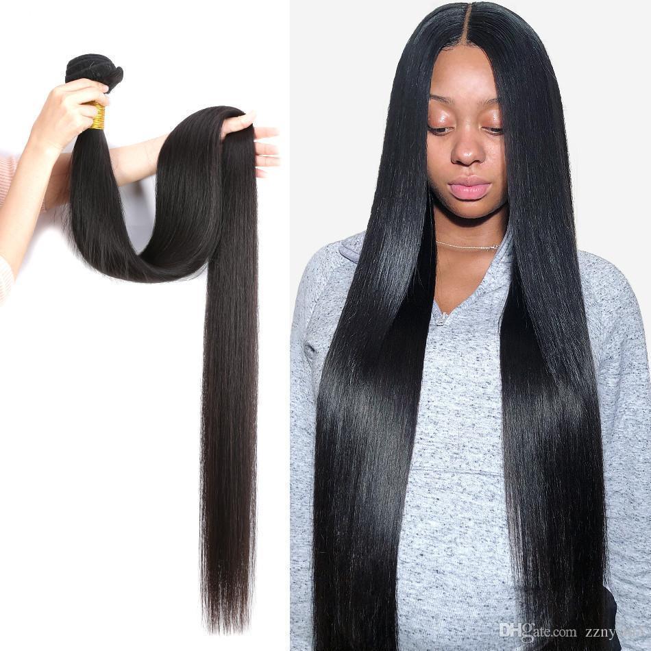 Wigirl brasilianische Haar-Webart Bundles gerade 100% Echthaar 24 Zoll 3 4 Bundles Natural Color Raw Virgin Haar