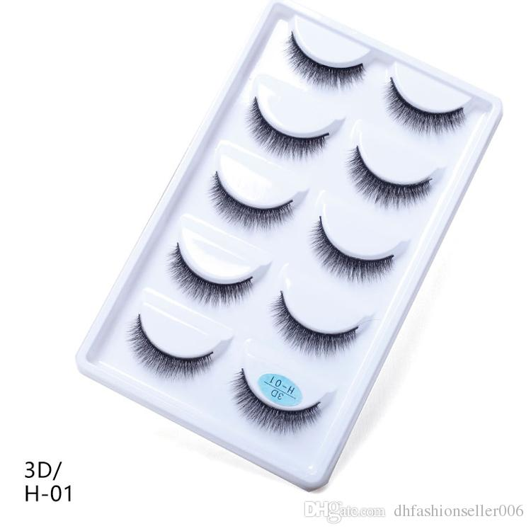 H series 2019 Natural False Eyelashes Handmade Fake Eye Lashes Mink Lashes 5pairs/pack 3D Mink Eyelashes
