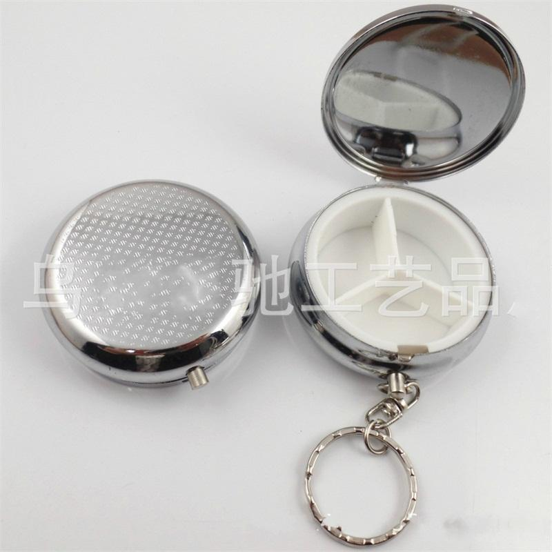 Minipíldora Casos llavero de metal de la forma redonda 3 Rejas kit médico de almacenamiento portátil caja con el espejo Eco Friendly 2 a 5 años E1