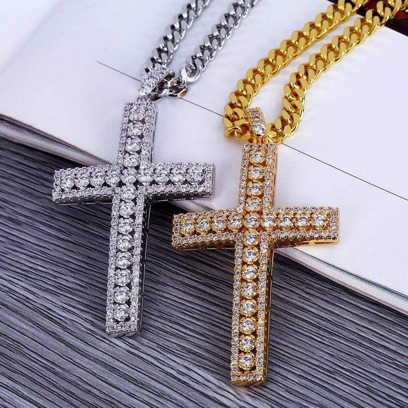 2020 Hip Hop Collares Cadenas de mujeres de los hombres cruz de la manera cubana Enlaces colgante de diamante hacia fuera helado collar encanto de la joyería Accesorios regalo O40FA