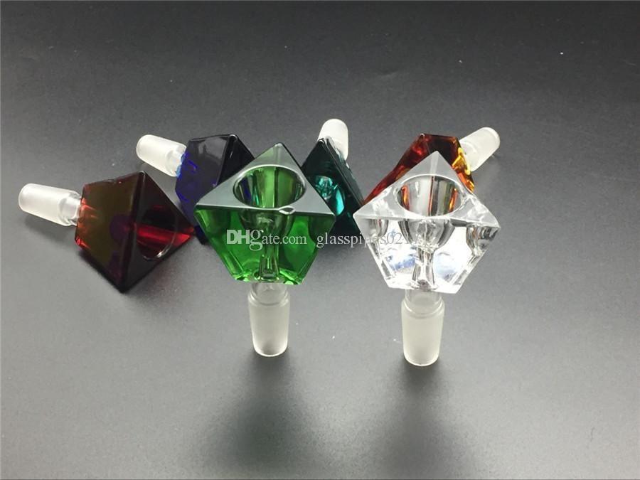 ПОПУЛЯРНАЯ Стеклянная чаша для бом соучастника табакокурения 14мм 18мм мужской чаши стекло пьянящего слайда золоуловитель стеклянной миска треугольник 3D бриллиант