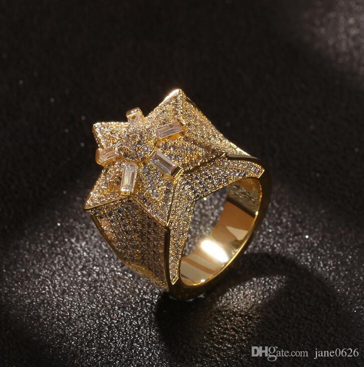 Hip-hop Pentagon Zircon Ring Personalidad Diseño Flor Estrella Anillo 3D Estrella Punky anillo para los hombres Compromiso Hip Hop joyería