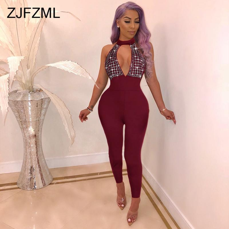 Glitter Rhinestones Sexy Jumpsuits For Women Off The Shoulder Backless Bodycon Romper Elegant Hollow Out One Piece Party