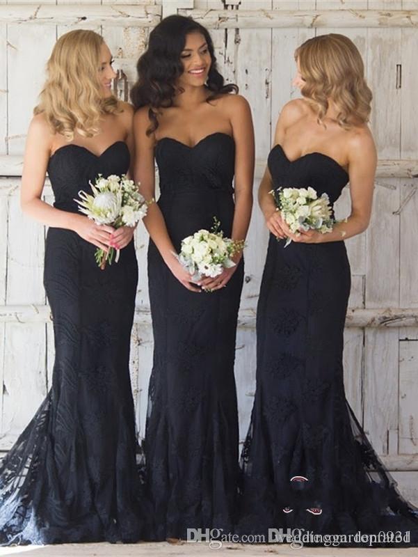 New Elegant Black Sweetheart Mermaid Bridesmaid Dress Lace Wedding Sleeveless Reception Dress Floor Length Plus Size Cheap Maid Of Honor