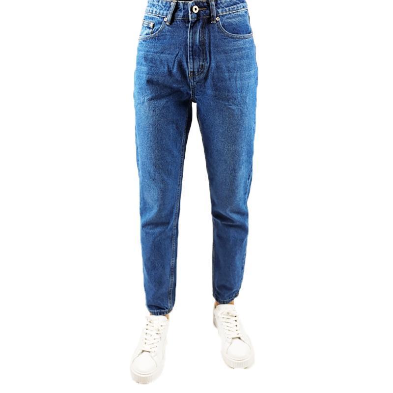 Mom droite Jeans Femmes Bleu foncé Pantalon taille haute en denim Mujer Bureau Denim Lady mi Cadrage Zipper Regular