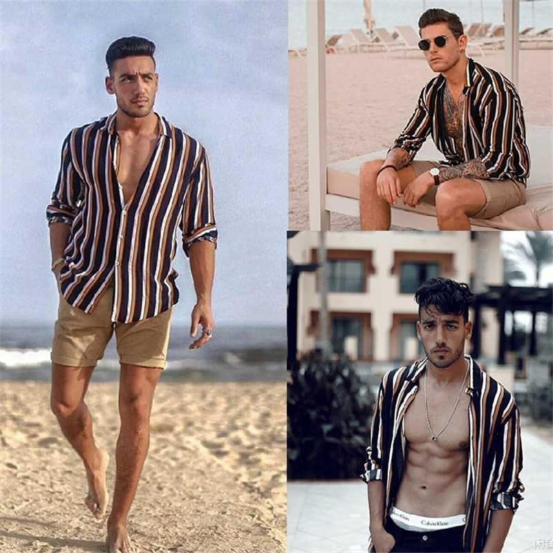 Nuovo Camisa Masculina Moda 2020 Slim Fit Men Casual Camicie maniche lunghe a righe Mens sociali vendita calda Camisas para hombre