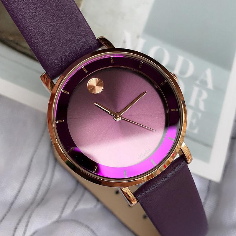 Dropshipping Fashion 36MM Purple Dial Women's Wristwatch Personality Red Black Leather Strap Quartz Ladies Watch gift for women