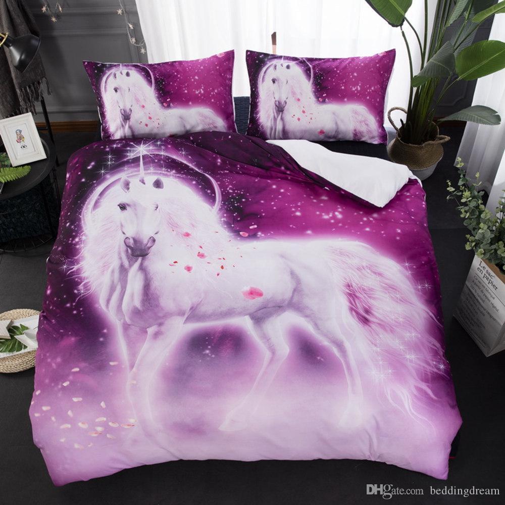 Unicornio púrpura Impreso del lecho de la reina Tamaño Pétalo edredón misterioso Cubierta de la plataforma de la cubierta 3D Rey diciembre casero Doble Individual con la funda de almohada
