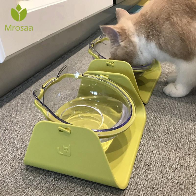 4 Colores 15 Grados Alimentador del gato Ajustable Feeder Bowl Waterer Alimentar Alimentos Para Mascotas Comedor de Platos Para Perros Vajilla Q190528