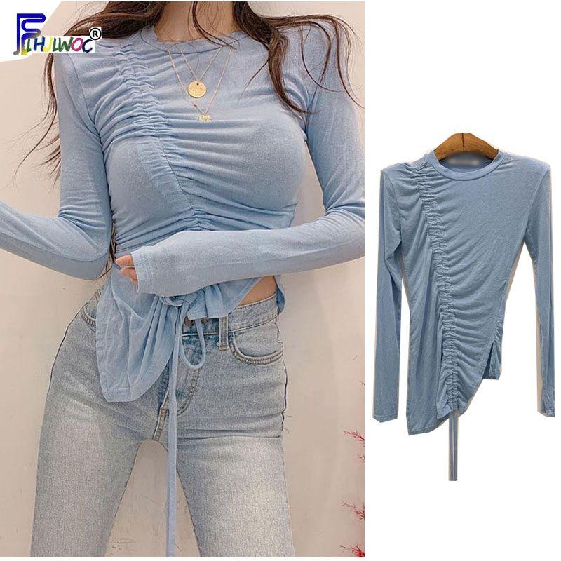 Slim Fit Tops Piel Llevar Moda Mujer Otoño de manga larga básico apretado BodyCon drapeado pajarita camisetas camiseta de algodón 66645