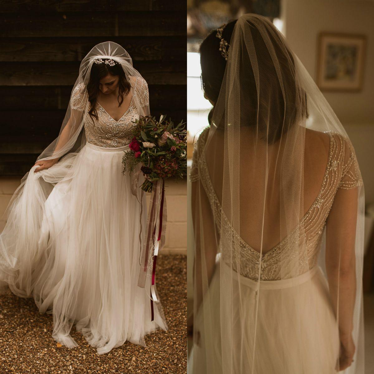 Топ Бисероплетение Свадебные платья Boho V-образным вырезом с коротким рукавом Свадебные платья Novia Bohemian Country без спинки Свадебные платья