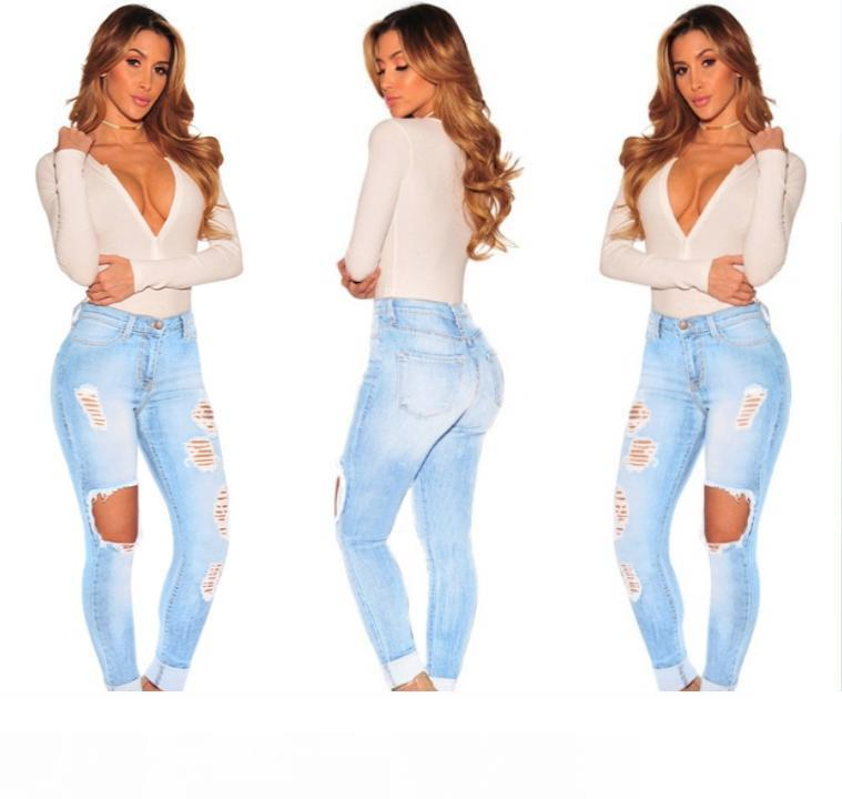 Venta caliente Ripped Jeans Denim Joggers rodilla agujeros Slim Fit Jeans para mujeres Blue Rock Star Womens Jumpsuit Destroyed Jeans novio lápiz