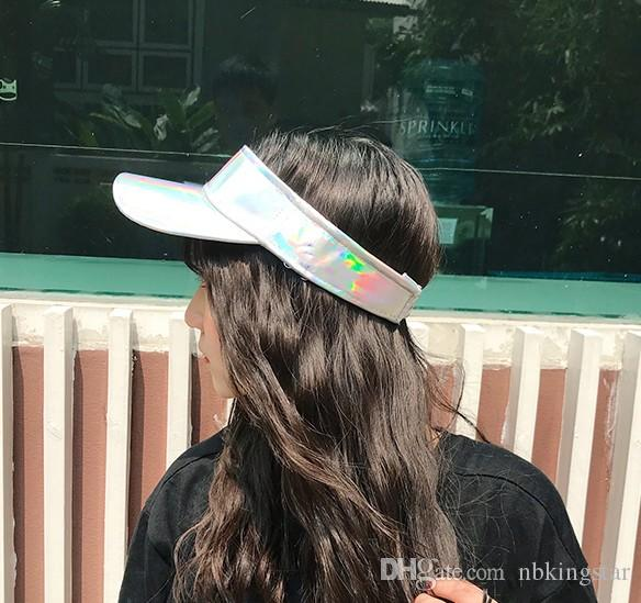 New Summer Unisex Visor Empty Laser Top Elastic Band Sun Hat Brim Blank Hats Beach UV Protection Caps For Men And Women