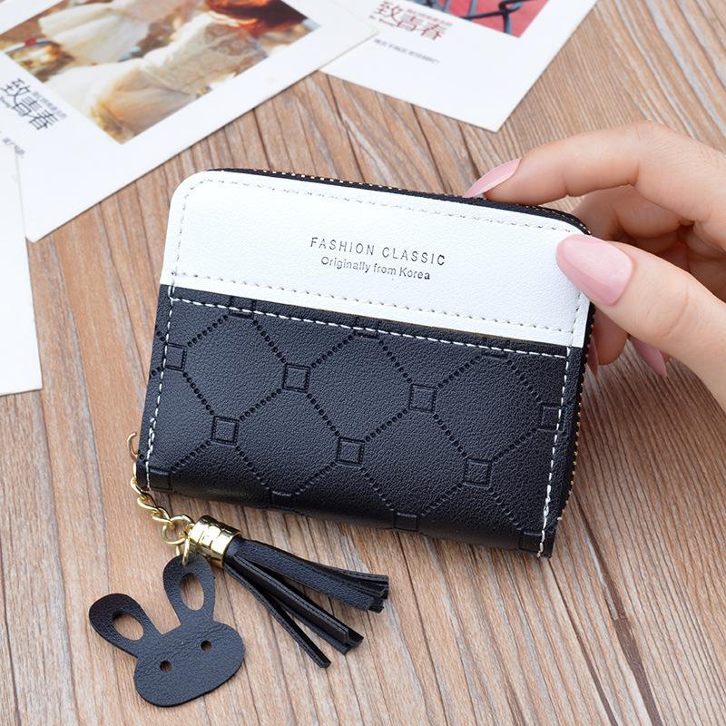 Accesorios de piezas de bolsas 2021 Monedero de estilo Women's Short Wallet Cremallera borlas moda estilo coreano contraste en relieve