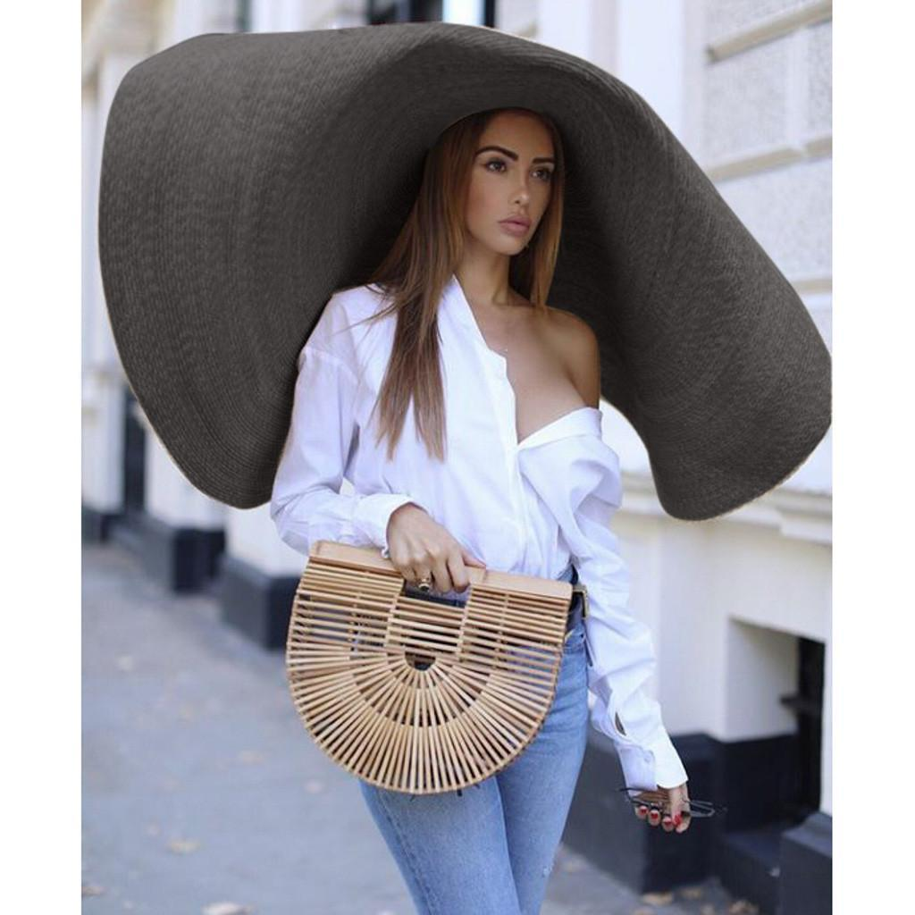 Fashion Large Wide Brim Sun Hat Beach Anti-UV Sun Protection Foldable Cap Cover Summer Straw Hat Women Brim Femme Cap Beach